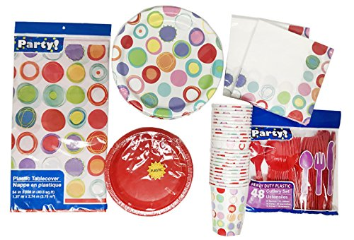 [Bright Circle Dots Party Dinner Paper Plates Bundle - 5 items: 36 Large paper plates, 40 small appetizer paper plates, 32 napkins, 24 paper cups and 48 piece plastic tableware- all] (Easy Halloween Cold Appetizers)