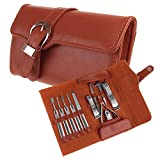 Nsstar Nail Care Personal Manicure & Pedicure Set, Leather Travel & Grooming Kit, Tool Clipper By Binnbox with 1PCS Free Cup Mat Color Ramdon(11PCS Set Leather Brown) For Sale
