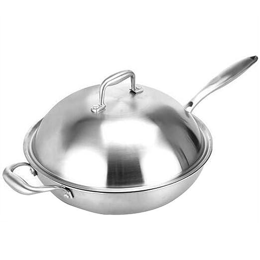 Wok Acero Inoxidable Con Sartenes Induccion Profesional Antiadherentes Sartén Mango De Silicona, Para Todo Tipo De Cocinas Incluido Inducción, ...