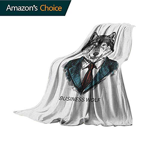 Wolf Soft Cozy Throw Blanket,Business Animal in Suit with Jacket Shirt and Tie Sketch Style Hipster Print Super Soft Faux Fur Plush Decorative Blanket,50