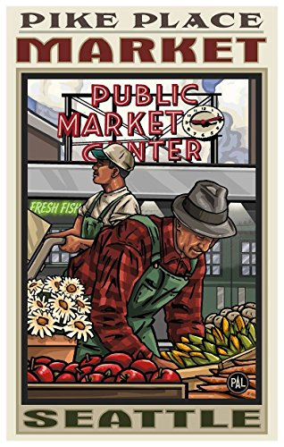 Pike Place Market Seattle Washington Travel Art Print Poster by Paul A. Lanquist (12