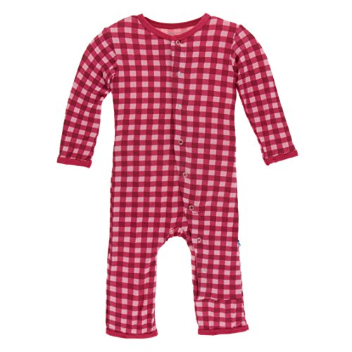 Kickee Pants Little Girls Print Coverall With Snaps - Flag Red Gingham, 6-9 Months - Kickee Pants Coveralls