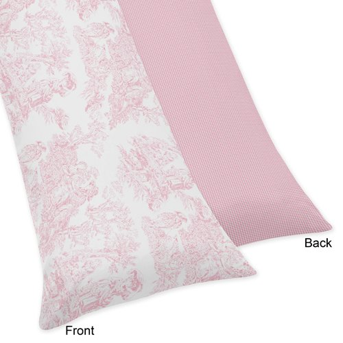 Pink Toile Curtains - Sweet Jojo Designs French Pink Toile Full Length Double Zippered Body Pillow Case Cover