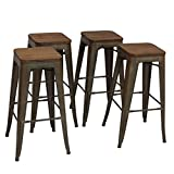 High Backless Metal Bar Stool for Indoor-Outdoor Kitchen Counter Bar Stools Set of 4 Bronze Metal with Wood Seat