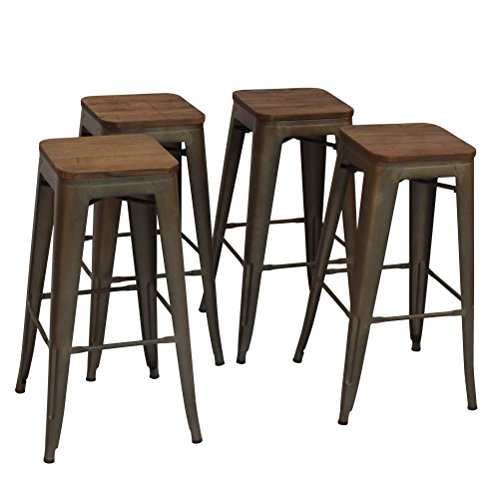 High Backless Metal Bar Stool for Indoor-Outdoor Kitchen Counter Bar Stools Set of 4 Bronze Metal with Wood (Wood And Metal Bar Table)