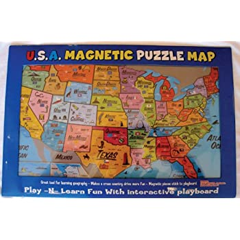 Amazoncom Magnetic USA Puzzle Map Toys Games - Magnetic us map