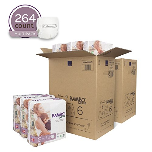 Bambo Nature Eco Friendly Premium Baby Diapers for Sensitive Skin, Size 6 (35-66 lbs), 264 Count (2 Cases of 132)