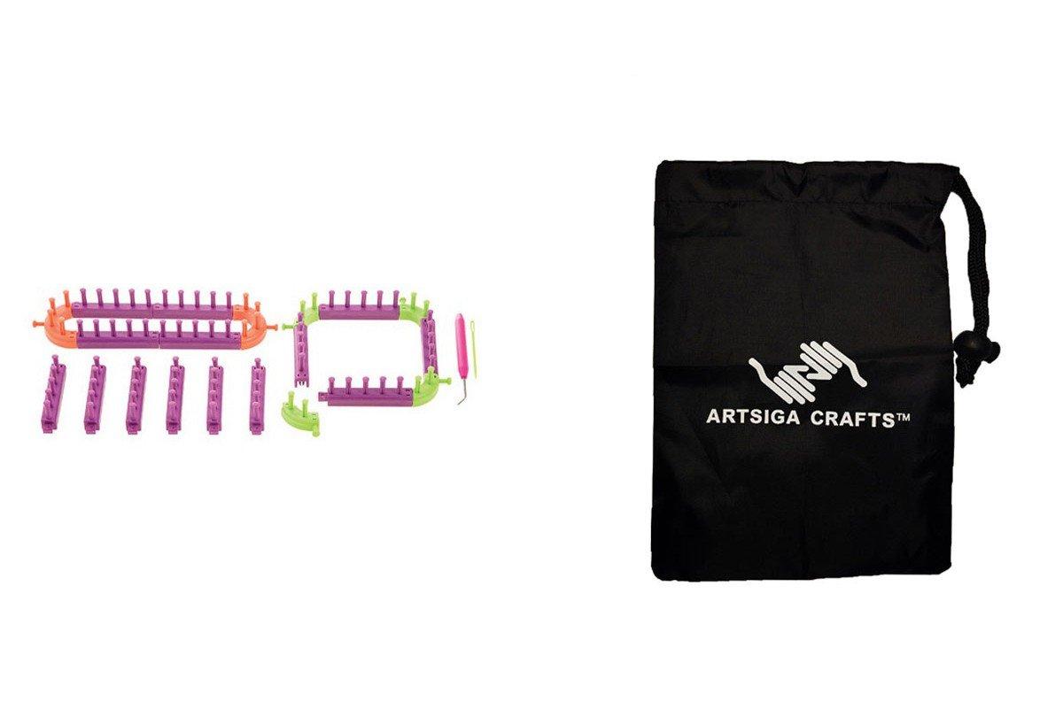 Darice Knitting Loom Knit Kit 20 Pc (3 Pack) 30022874 Bundle with 1 Artsiga Crafts Small Bag