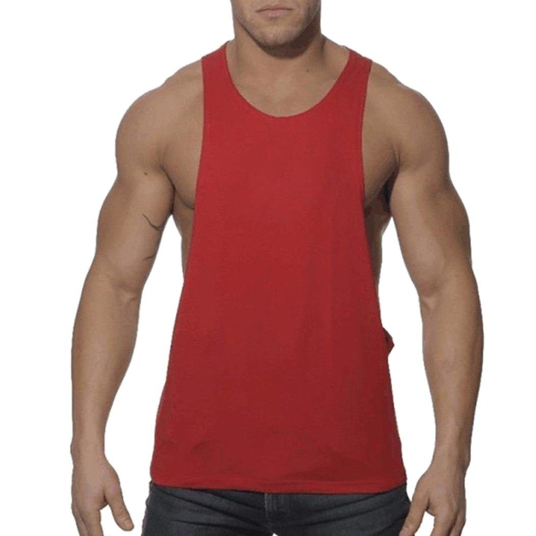 3ad0987e66dd7 Amazon.com  Qisc Mens Tops Men s Muscle Gym Workout Stringer Tank Tops  Bodybuilding Fitness Vest T-Shirts  Clothing