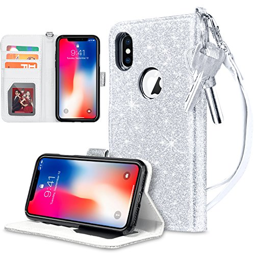 UARMOR Wallet Case for Apple iPhone X / iPhone 10 / iPhone XS 5.8 inch, Glitter Bling Sparkle Shiny PU Leather Folio Flip Case With Kickstand ID Credit Card Holder Shockproof Rubber Cover, Silver