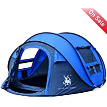 HUI LINGYANG Outdoor Instant 3-4 Person Pop Up Dome Tent - Easy, Automatic Setup -Ideal Shelter for Casual Family Camping Hiking