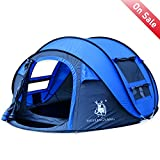 HUI LINGYANG Outdoor Instant 3-4 Person Pop Up Dome Tent – Easy, Automatic Setup -Ideal Shelter for Casual Family Camping Hiking, Blue