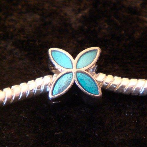 Perle Charmies Fleur bleue en métal émaillé - Compatible Pandora, Amore&Baci, Chamilia…
