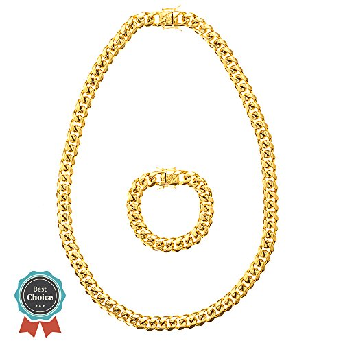 Miami Cuban Link Gold chain for men - heavy mens 18k real solid gold plated stainless steel 30 inch chains and 8 inch bracelet hip hop - Miami Fashion Men's