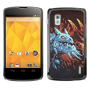 KLONGSHOP // Cubierta de piel con cierre a presión Shell trasero duro de goma Protección Caso - Dragón azul - LG Nexus 4 E960 //