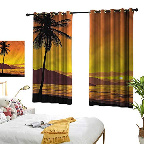 Lightly Beaded Curtain Tropical,Sunset at Beach with Palms 84
