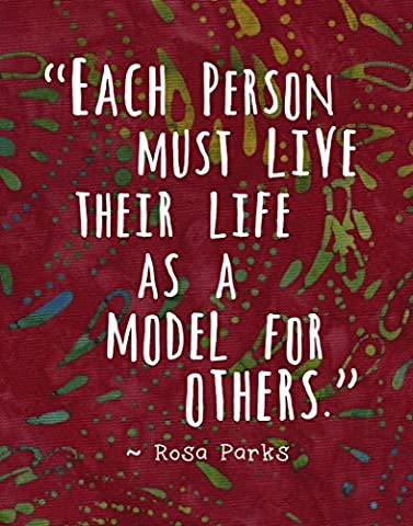 Colorful Batik Pattern Wall Art Print ~ ROSA PARKS Famous Quote: 'Be a Model for Others...' - Batik Wall Art