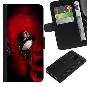 All Phone Most Case / Oferta Especial Cáscara Funda de cuero Monedero Cubierta de proteccion Caso / Wallet Case for Samsung Galaxy S5 Mini, SM-G800 // Mask Super Hero