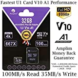TF Memory Card 32GB Micro SD SDHC Card Plus Adapter, Amplim 32 GB MicroSDHC Ultra High Speed 667X 100MB/s UHS-1 for Cell Phone, Tablet, Camera, 3DS, Fire MicroSD HC Flash (V10 A1 Class 10 U1 UHS-I)