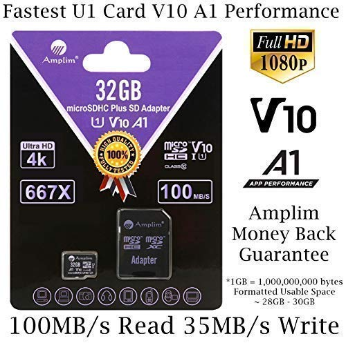 Amplim 32GB MicroSD Memory Card Plus SD Adapter Pack (V10 A1 UHS-I U1 Class 10 HC Extreme Pro) 32 GB Ultra High Speed 667X 100MB/s Micro SD SDHC TF ...