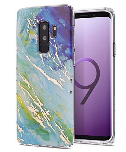 Galaxy S9+ Plus Case,Spevert Marble Pattern Hard Back Soft TPU Raised Edge Ultra-Thin Shock Absorption Hybrid Protective Case Slim Cover Compatible Samsung Galaxy S9+ Plus(2018 Released) - Blue Green