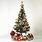 LAZYMOON 6Ft Artificial PVC Classic Unlit Christmas Tree Plastic/Metal Stand 200 Tips Full Tree