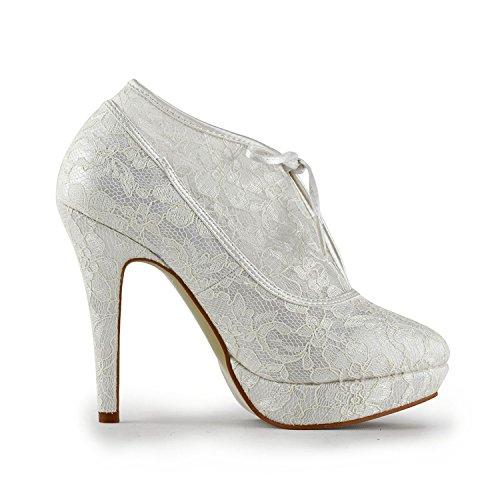 Minishion Womens Platform Stiletto High Heel Lace Bridal Wedding Ankle Boots White vSOhA