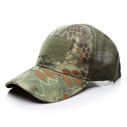 Breathable Mesh Tactical Cap Hook and Loop Badge Patch Camo Hats for Men Desert Digital ACU Cobra Camouflage