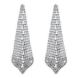 Style B-Silver Plated Crystal Rhinestone Chandelier Dangle Earring