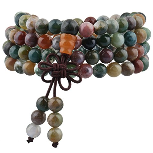 (TUMBEELLUWA 6mm Stone Beads Bracelet for Women and Men, 108 Mala Prayer Beads Necklace for Unisex)