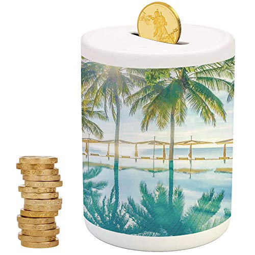 iPrint Landscape,Money Bank for Kids,Christmas Birthday Gifts for Kids Boys Girls Home Decoration,Pool by The Beach with Seasonal Eden Hot Sunny Humid Coastal Bay -