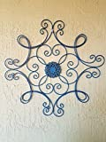 outdoor wall decor metal square - Square Scrolled Metal Wall Medallion Decor (Teal Medallion)