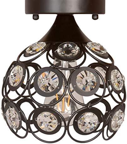 Semi Flush Mount Ceiling Light Fixture, Antique Black Metal Crystal Chandelier Lamp