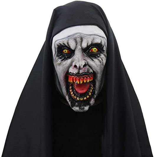 FUPOA Disfraz de Terror Máscara de Monja Ropa de Halloween Disfraz ...