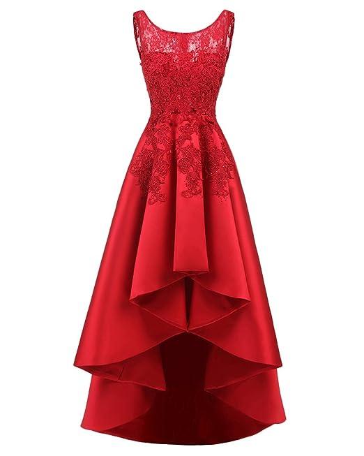 600e0cd4b6b6 Donna Vestiti Da Sera Cerimonia Eleganti Vestitini Girocollo Abito Orlare  Asimmetrico Lunghi Slim Fit Cocktail Formale Vestito Rosso 5XL  Amazon.it   ...