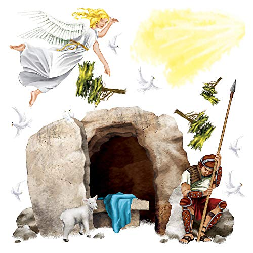Fun Express - Resurrection D-A-R Tomb Set (13pc) for Easter - Party Decor - Wall Decor - Scene Setters - Easter - 13 Pieces -