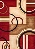 Well Woven Deco Rings Red Geometric Modern Casual Area Rug 9×13 (9'3″ x 12'6″) Easy to Clean Stain Fade Resistant Shed Free Abstract Contemporary Color Block Boxes Lines Soft Living Dining Room Rug Review