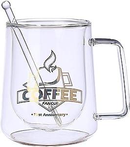 300Ml Coffee Mug Set Tea Mugs Handmade Creative Beer Drink A Mug of Office Mug Transparent Drinkware Double Glass Cups Have Shoon 300ml