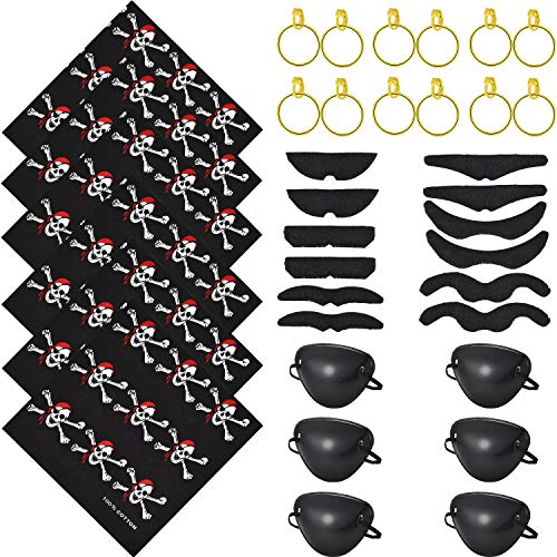 Jetec 36 Pieces Pirate Costume, Pirate Eye Patch Pirate Bandana Fake Mustache and Earring