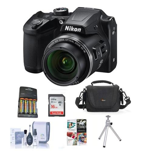 Nikon Coolpix B500 Digital Point & Shoot Camera, Black – Bundle With Camera Bag, 4 AA Batteries, 16GB Class 10 SDHC Card, Cleaning Kit, Table Top Tripod, Software Package