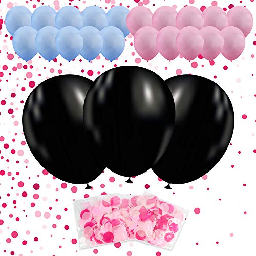 36'' Gender Reveal Balloon with Confetti 3 PACK | 3 Jumbo Black Balloons | 10 Pink Balloons | 10 Blue Balloons | 3 Pink Confetti Packs | Ultimate Party Supplies