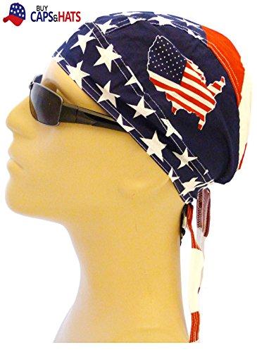 American Flag Doo Rag Headwrap Patriotic Cotton Durag United States SkullCap USA