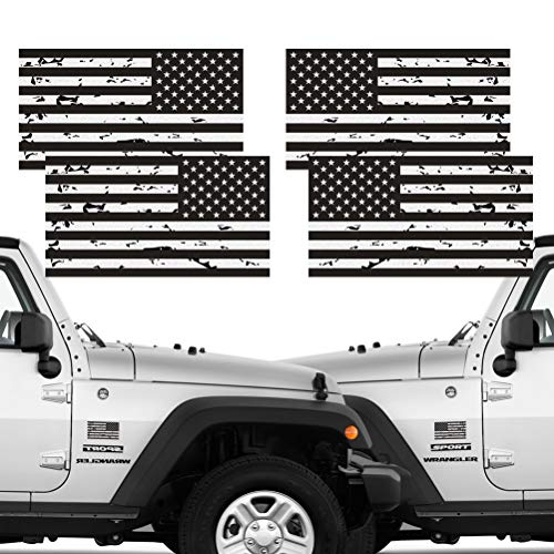- Reflective 2 Pairs Subdued Tattered Reverse Forward American Flag Sticker 2.7