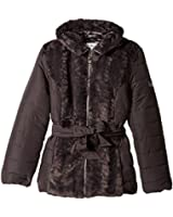 Amy Byer Outerwear Big Girls' Puffer with Faux Fur Panel