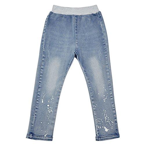 AIMBAR Kids Girls' Soft Washed Denim Pants Slim Elastic Waist Jeans Age 4-13 Years (4-5 Years) ()