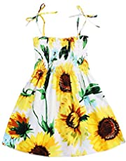 Kids Toddler Baby Girls Summer Dress Outfits Ruffle Strap Sunflower Print Tutu Skirt Sunsuit Beachwear Clothes Set