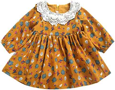 bf42e96db53 Kingspinner Flower Girls Dress Long Sleeve Ruched Lace Patchwork Princess  Dresses 1-4 Years