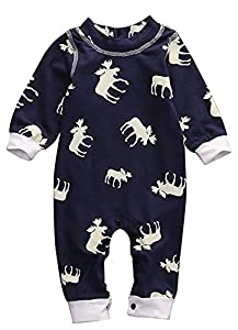 CPEI Toddler Infant Baby Girl Boy Long Sleeve Deer Romper Jumpsuit Pajamas Xmas Outfit