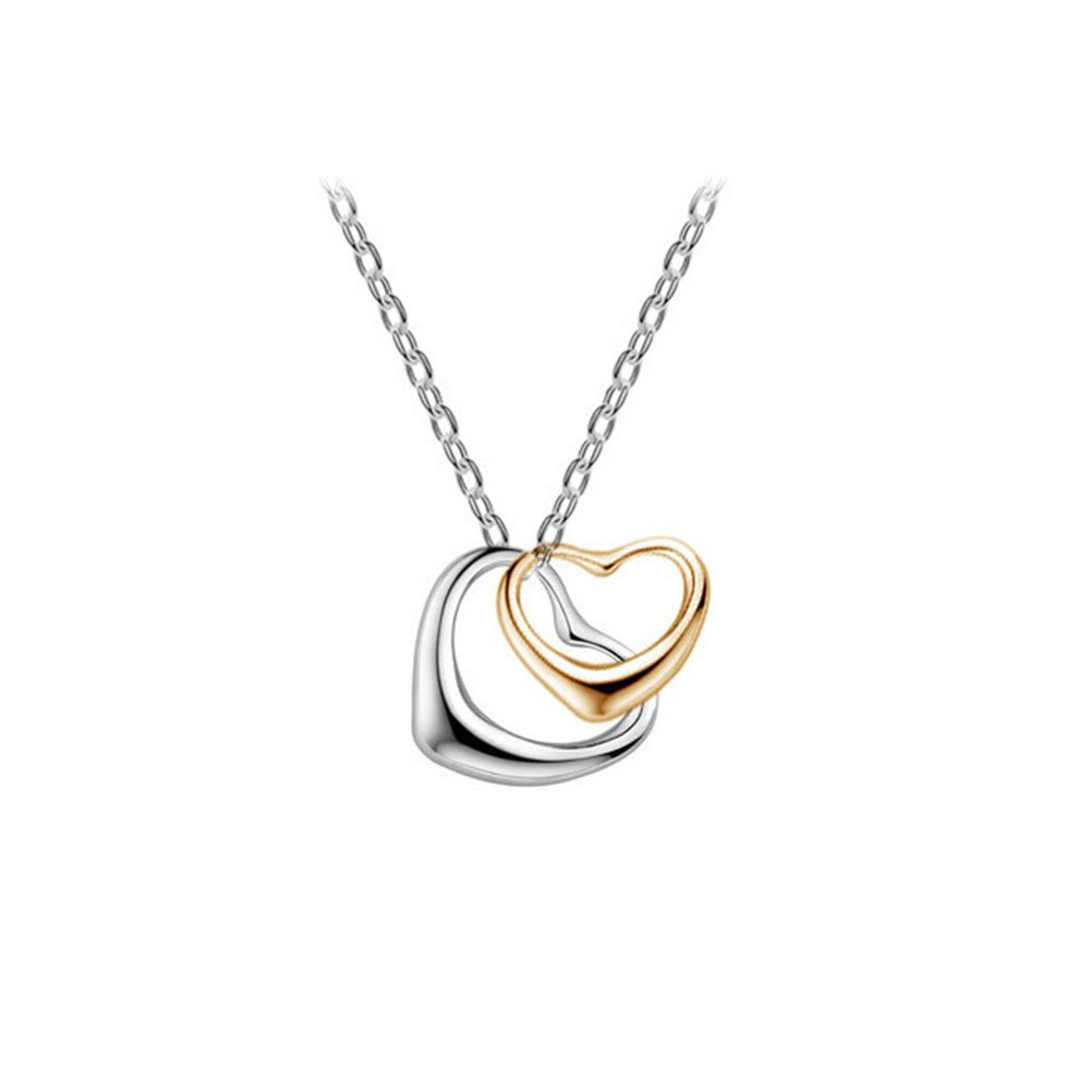 Bling Stars Double Floating Heart Pendant Chain Necklace NK-01-0087
