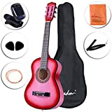 ADM Beginner Classical Guitar 30 Inch Nylon Strings Bundle with Carrying Bag & Accessories, Pink